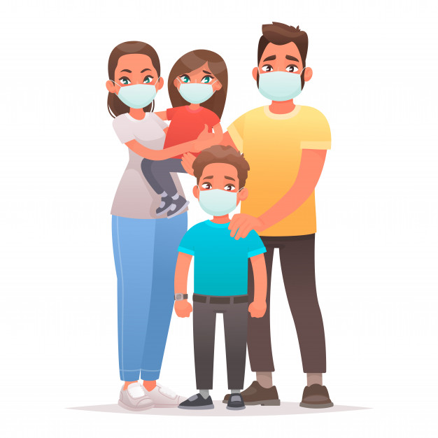 family quarantined coronavirus protection dad mom son and daughter are wearing medical masks on their faces 165429 515